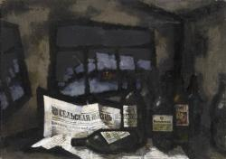 STILL LIFE WITH BOTTLES AND NEWSPAPER