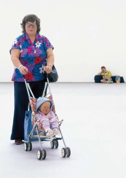 Left to right: Woman with Child in Stroller, Traveller