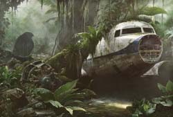 Jungle Scene With Plane Wreck